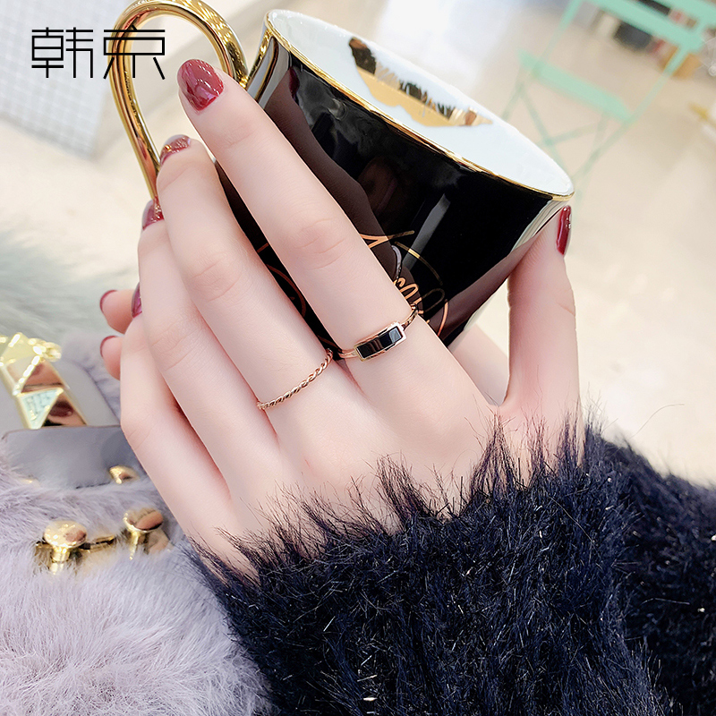 Korean, Beijing, Europe and the United States Chaozhou people mix and match Titanium steel ring feminine temperament fashion personality insnet red index ring ring ring