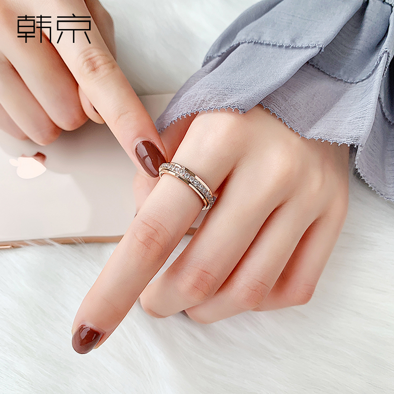 Han Jinghui's ring women's ins net red fashion titanium steel food ring personality with diamond light luxury rotatable ring