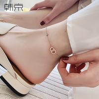 时尚双环钛钢脚链女潮性感简约韩版个性镀玫瑰金脚踝链子彩金足链