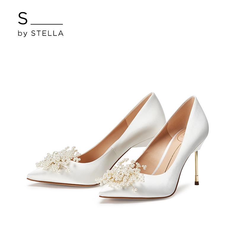 小S女鞋S by STELLA2019春季新品米白色珍珠香烟跟高跟婚鞋单鞋