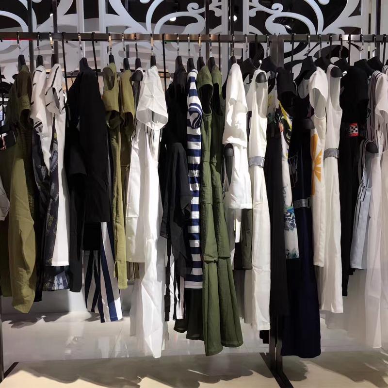 品牌女装折扣店货源17夏款少淑装连衣裙套装气质修身显瘦