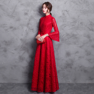 2017 new bride toast clothing autumn and winter long section was thin red collar female horn sleeve lace wedding dress