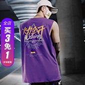 国潮背心男潮牌中国风无袖t恤潮牌夏季个性潮流运动健身修身坎肩