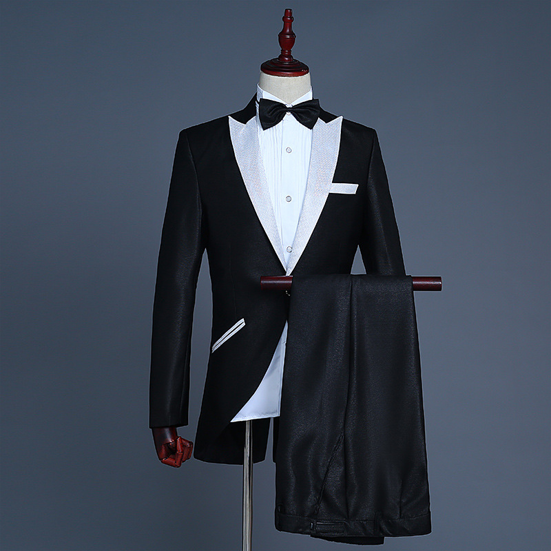 High end magician small Tuxedo Suit mens bel canto conductor performance dress coat nightclub owner NEW