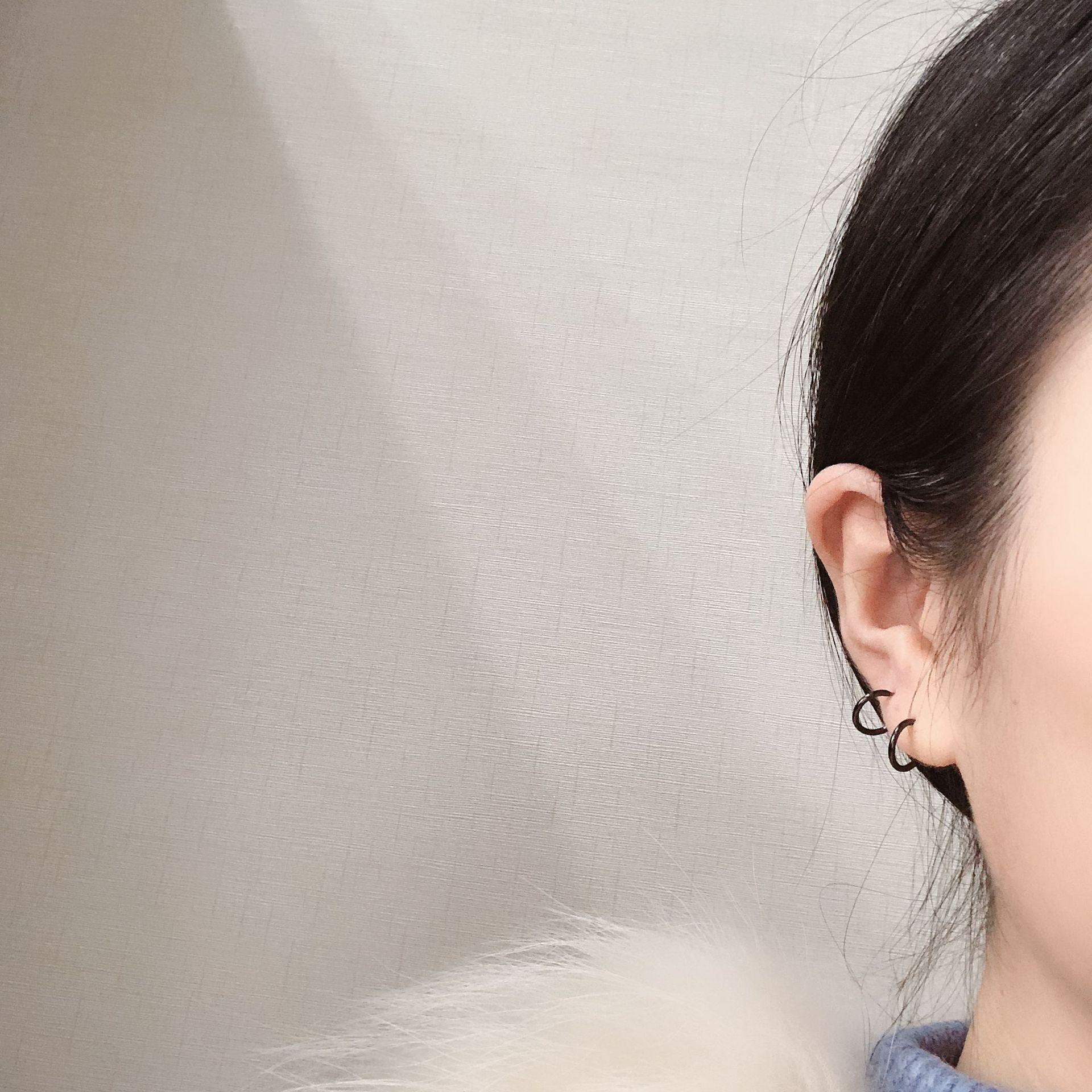 S925 Sterling Silver New minimalist basic plain Earrings punk style versatile earrings earrings for men and women