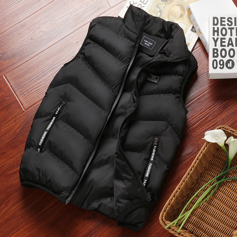 Down cotton vest men's autumn and winter coat youth Korean Trend Plush warm Waistcoat Vest vest