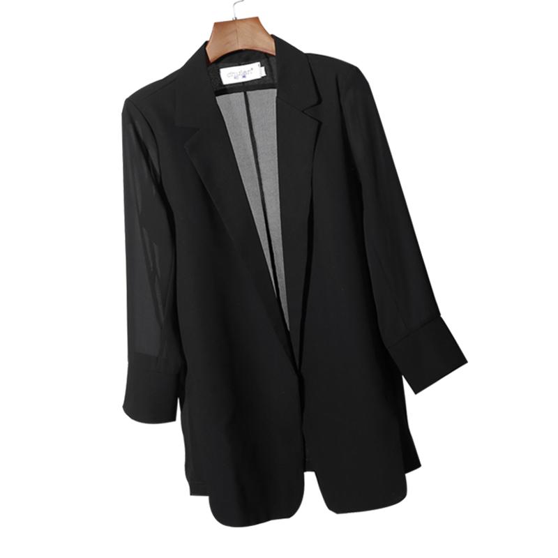 雪纺小西装外套女2020夏季韩版宽松防晒衣中长款西装大码开衫西服