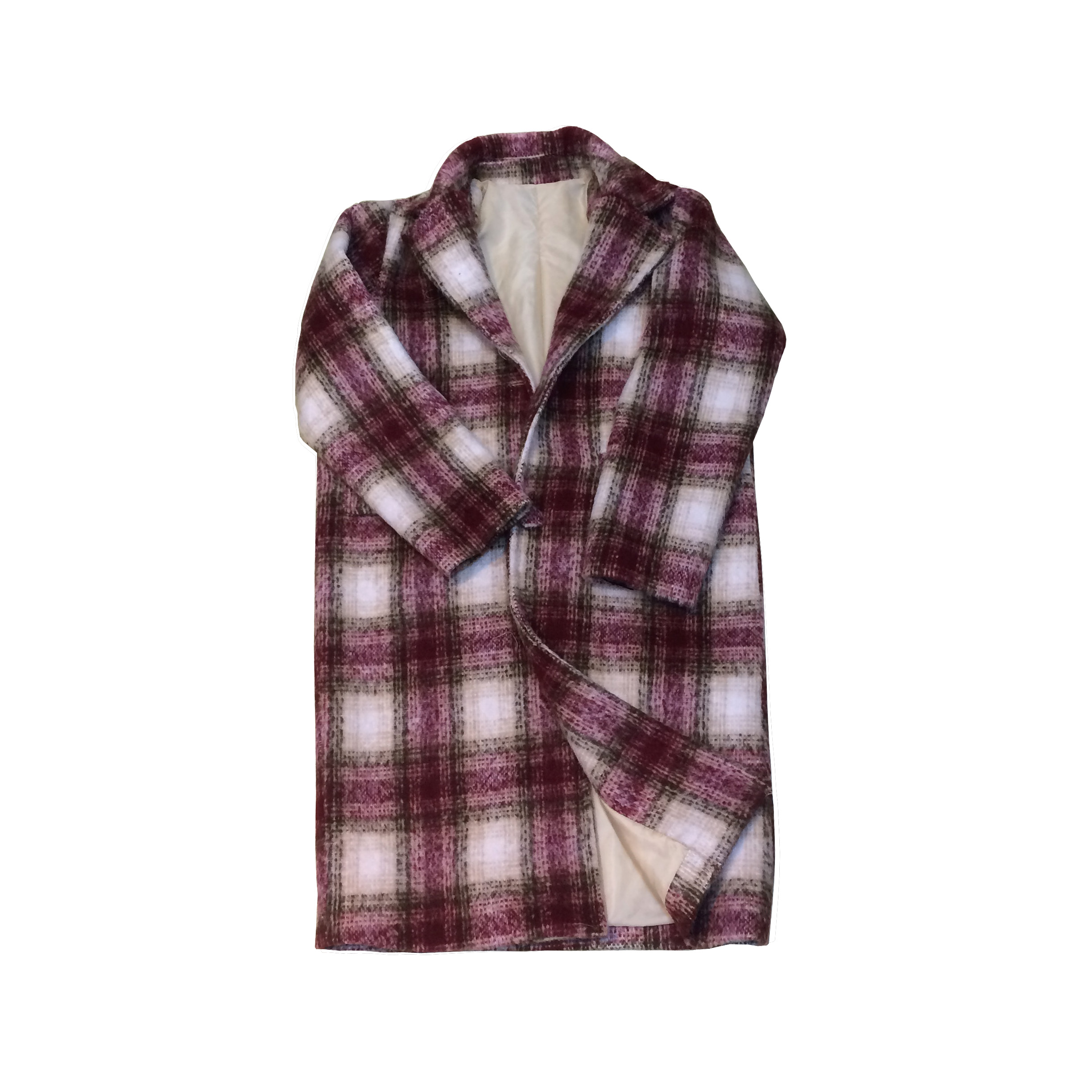 Woolen overcoat womens middle and long Korean autumn and winter 2017 new gradient cashmere like loose coat Plaid top