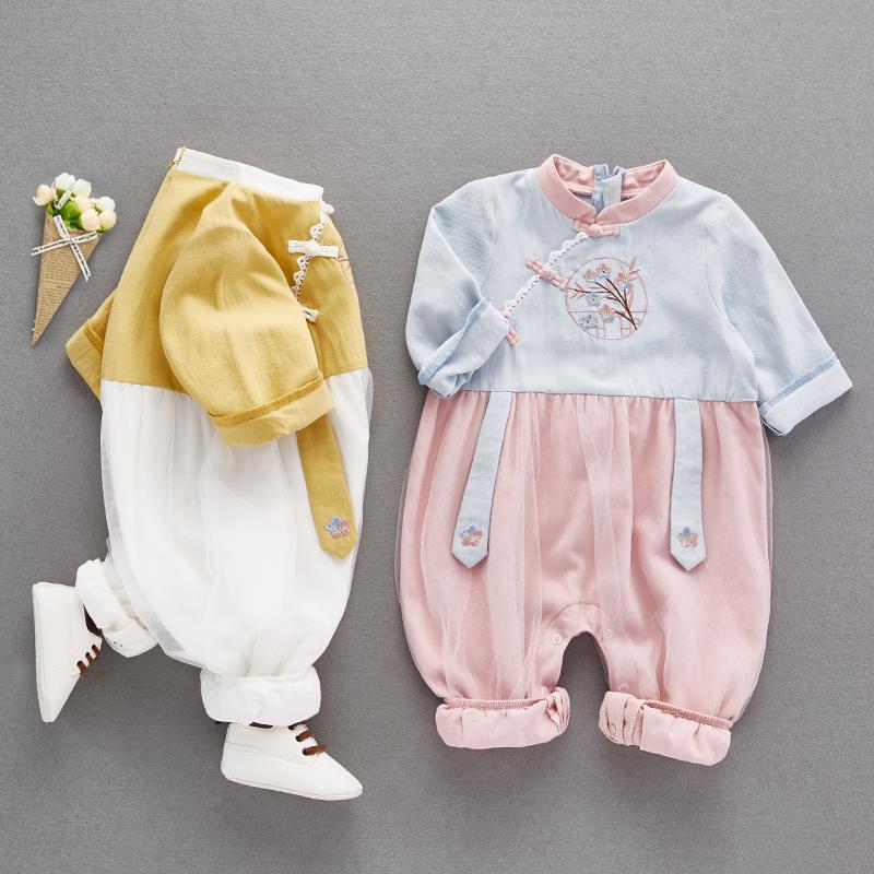 限5000张券网红婴儿秋装女宝宝汉服可爱连体衣
