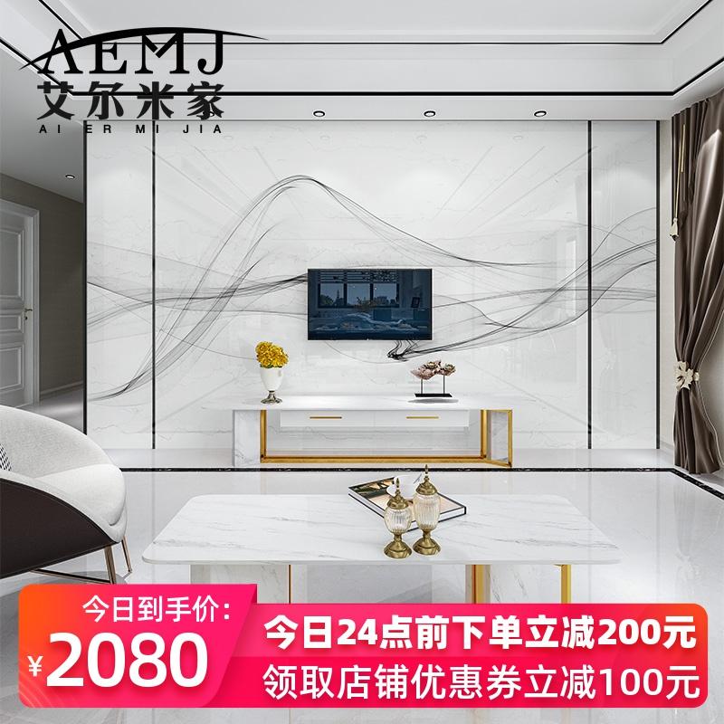 微晶石电视背景墙瓷砖客厅轻奢大理石材现代简约金属条边框影视墙