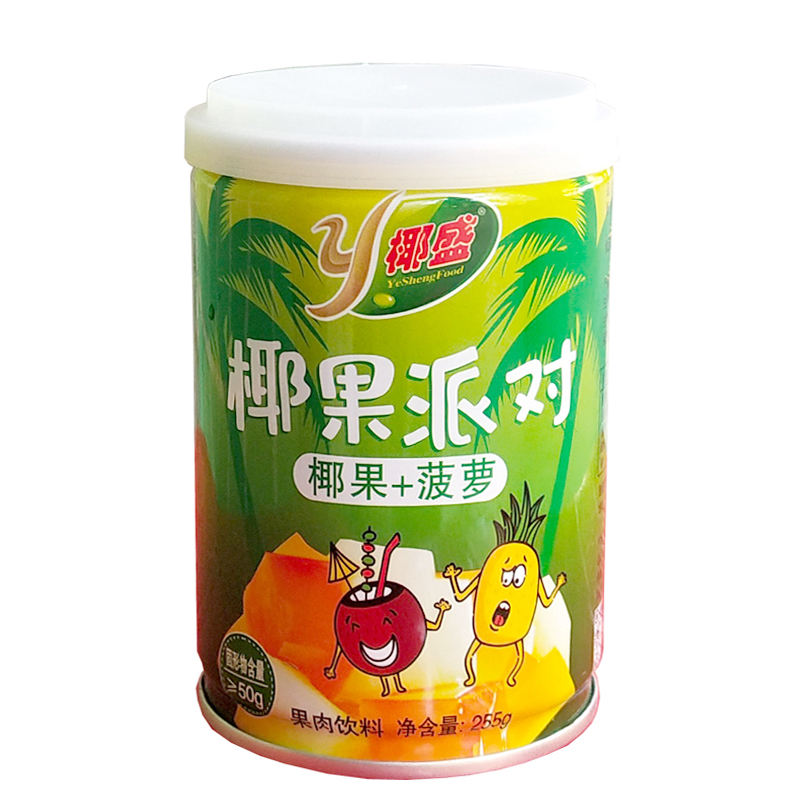 Yesheng coconut party 255g X6 cans of authentic Hainan coconut juice pineapple fresh fruit canned pulp beverage