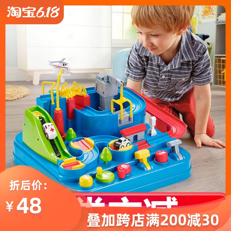 Yuecheng Car Adventure Big Adventure Small Train Rail Car Net Red Toys Benefit Intelligence Brain