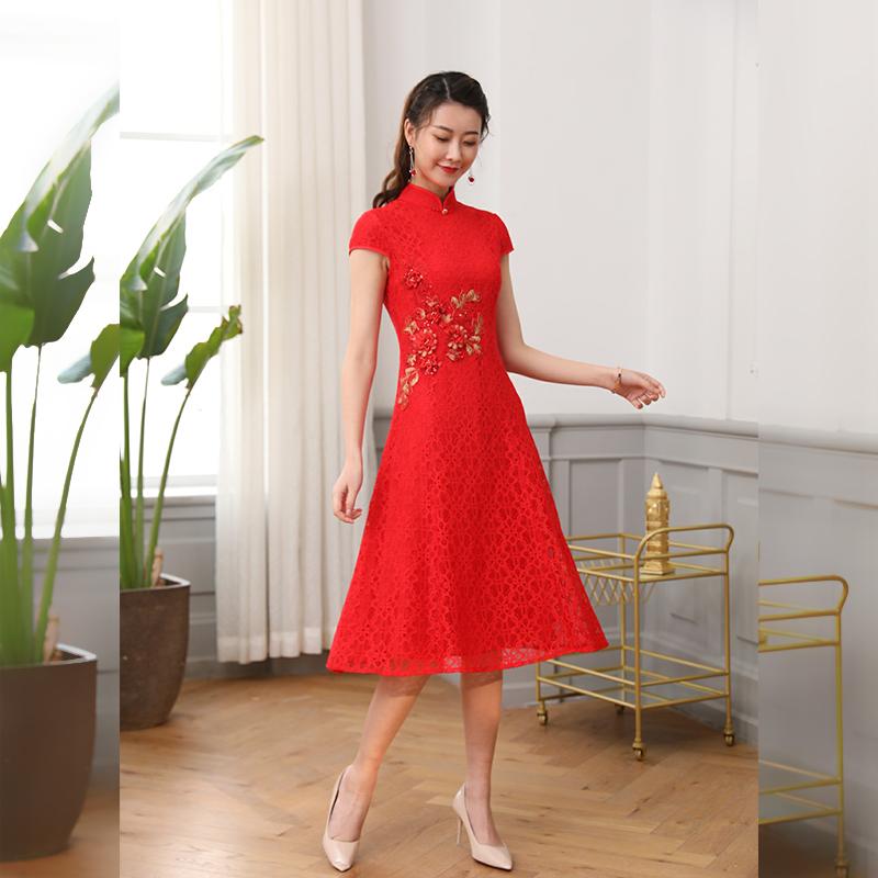唐雅阁2020新款结婚女新娘妈妈中式敬酒服婚纱礼服改良旗袍连衣裙