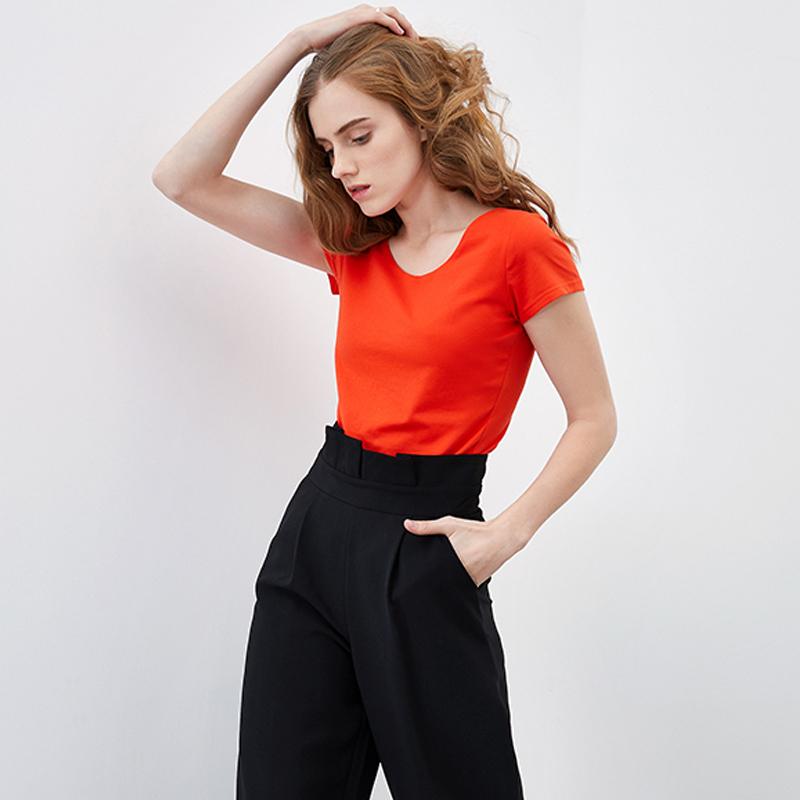 【直播专享价,更优惠】专柜品质纯色百搭女装T恤CD8U061