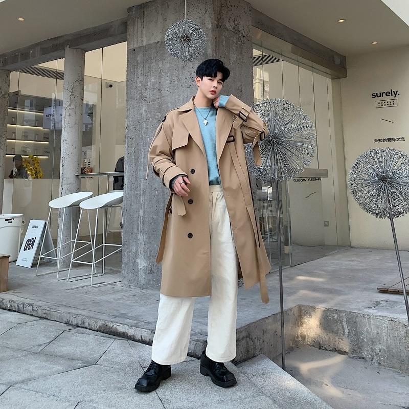 春季新款男士休闲风衣韩版卡其色长款大衣气质外套A345-1166-P135