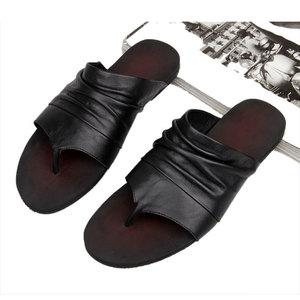 夏季英伦真皮男士拖鞋凉夹趾人字拖防滑沙滩鞋韩版休闲鞋潮男鞋子