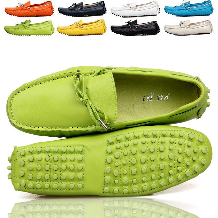 夏英伦绿色透气真皮豆豆鞋男士休闲鞋皮鞋潮流行男鞋子韩版懒人鞋