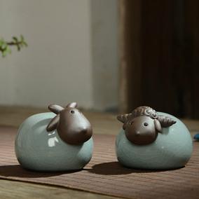 可爱十二生肖小羊小牛陶瓷创意客厅