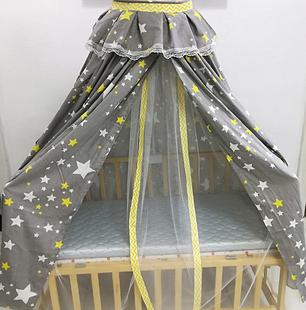 婴儿遮光床幔挡风床帘纯棉床罩防虫蚊帐宝宝床围套件花色任选定做