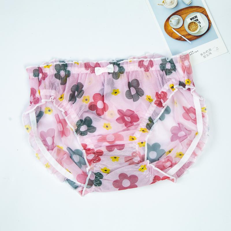 内裤女胖mm大码200斤中腰蕾丝透明少女日系甜美镂空速干薄三角裤
