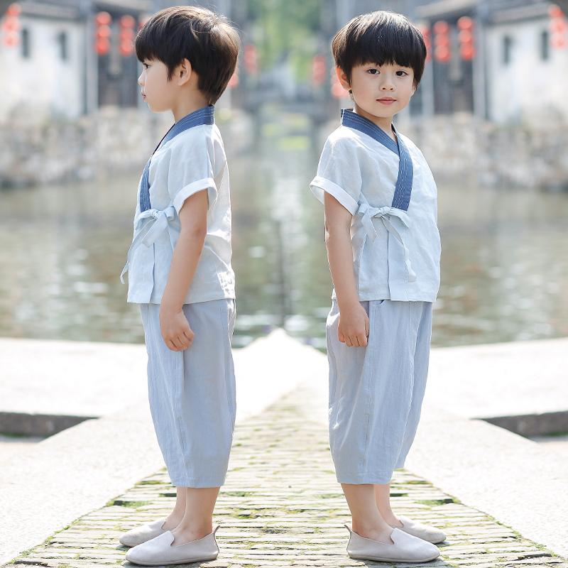 男童汉服唐装夏儿童中国风童装小孩民族服装宝宝复古改良古装套装