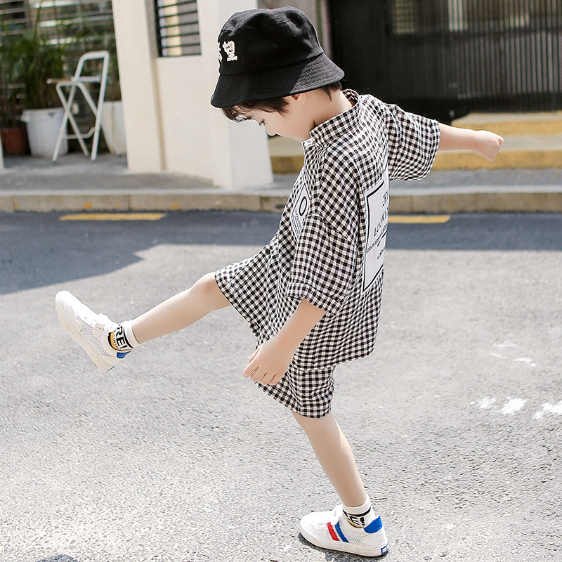 券后59.00元童装男童夏装格子套装2019新款儿童短袖两件套帅宝宝洋气韩版潮衣