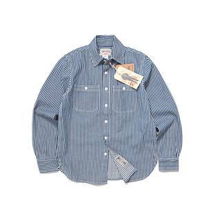 Emomo男女款中性重磅咔嘰復古風vintage豎條紋工裝長袖襯衫