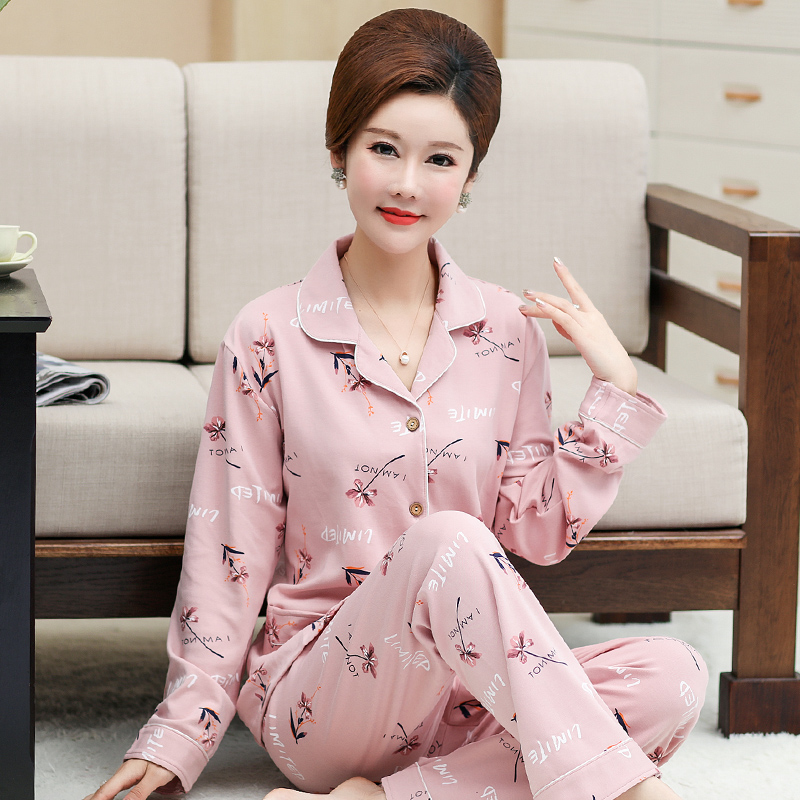 Small size moms all cotton pajamas for middle-aged and old womens spring long sleeve suit
