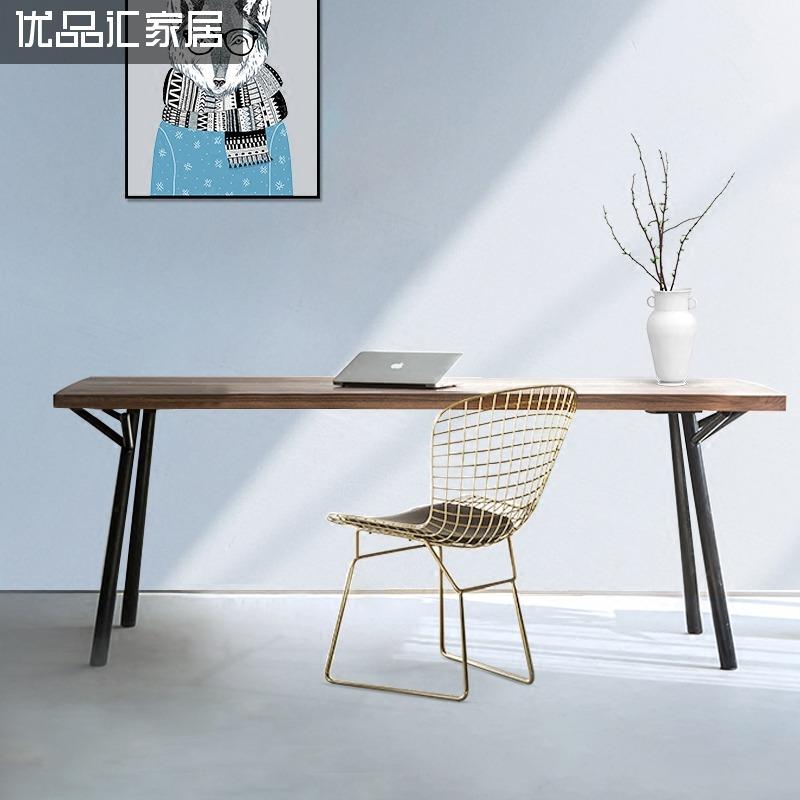 實木北歐餐桌椅子歺桌椅 家用飄窗書桌電腦桌輕奢 簡約飯桌