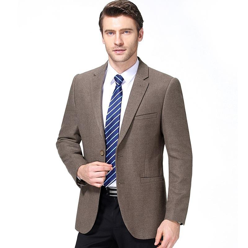 春秋男士毛呢西装夹克商务休闲羊毛呢上衣修身外套爸爸装西服