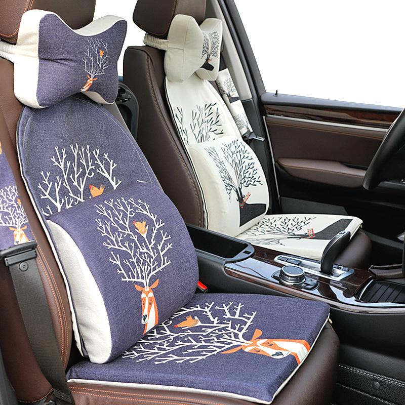卡通创意可爱汽车棉麻坐垫套四季通用座椅垫夏季个性汽车用品猫