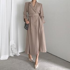现货 韩国 chic复古英伦风中长款西装连衣裙大衣外套