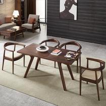 北欧实木餐桌椅组合小户型现代简约黑胡桃家用日式原木长方形饭桌