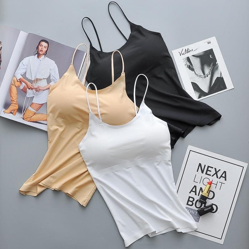 夏天冰丝细肩吊带裹胸打底防走光带胸垫抹胸少女长款运动背心内衣