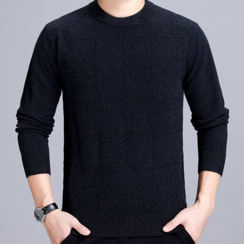 Cross border mens clothing new winter 2019 Korean mens cashmere sweater round neck versatile casual bottoming sweater for men