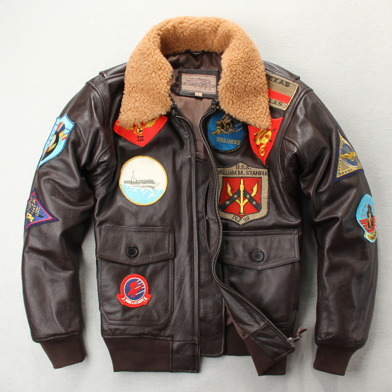 US World War II air force flying suit leather leather top layer cow leather mens fattening plus wool Lapel multi-standard jacket