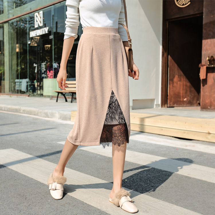 Spring 2020 new ol commuter knitted slit lace patchwork skirt medium length elastic waist pencil skirt for women