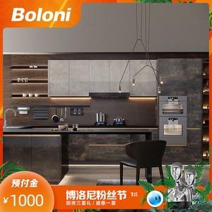 博洛尼现代简约厨房开放整体铝框