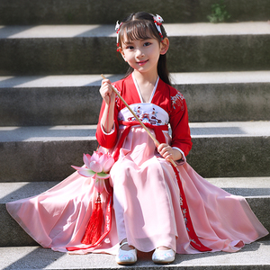 儿童古装汉服女童小学生春秋仙女公主12岁中国风连衣裙六一演出服