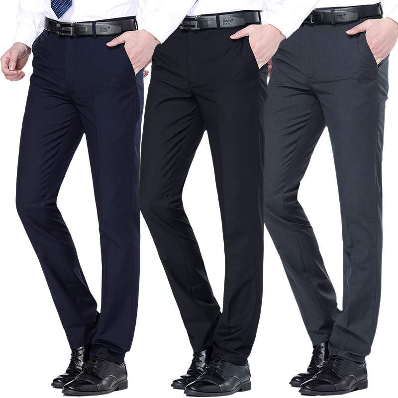 Mens trousers spring and autumn business formal wear no iron business casual middle aged trousers mens loose trousers