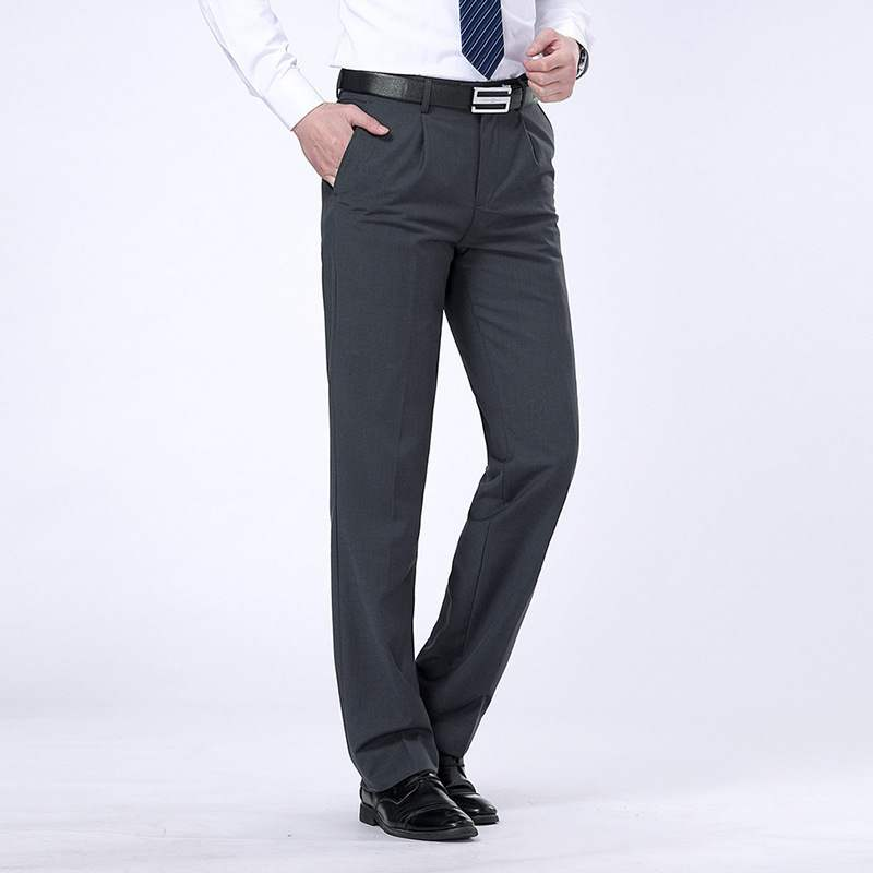 New mens trousers spring and autumn business formal wear no iron business casual middle age trousers mens loose pants