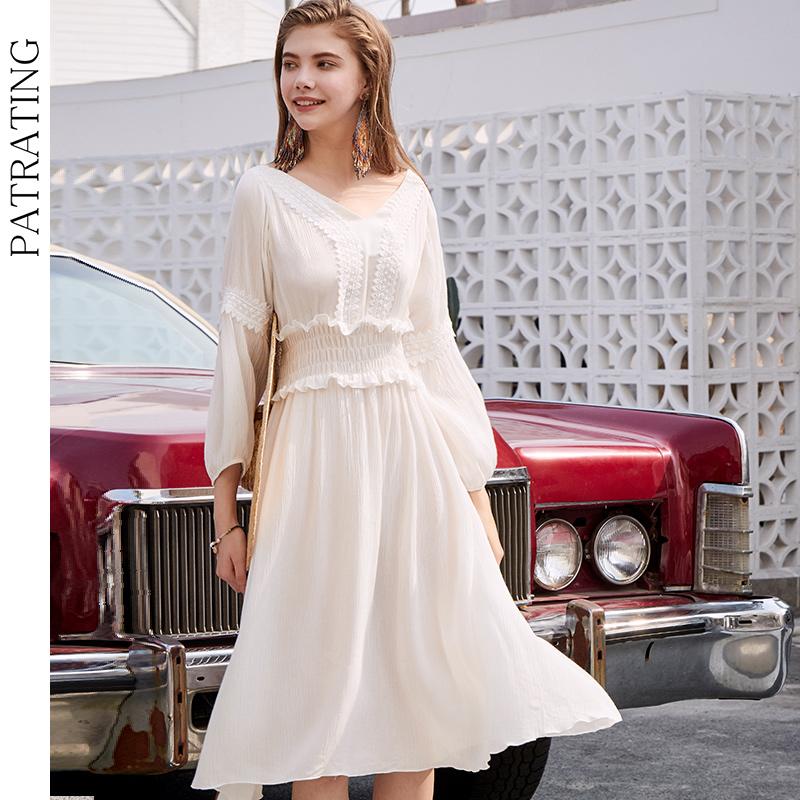PATRATING白色纯棉束腰美背度假风可外穿睡裙仙女V领蕾丝拼接长裙