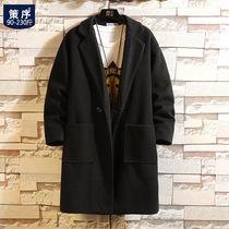 羊毛呢大衣男春秋季2021新款韩版潮流大码胖子宽松中长款呢子外套