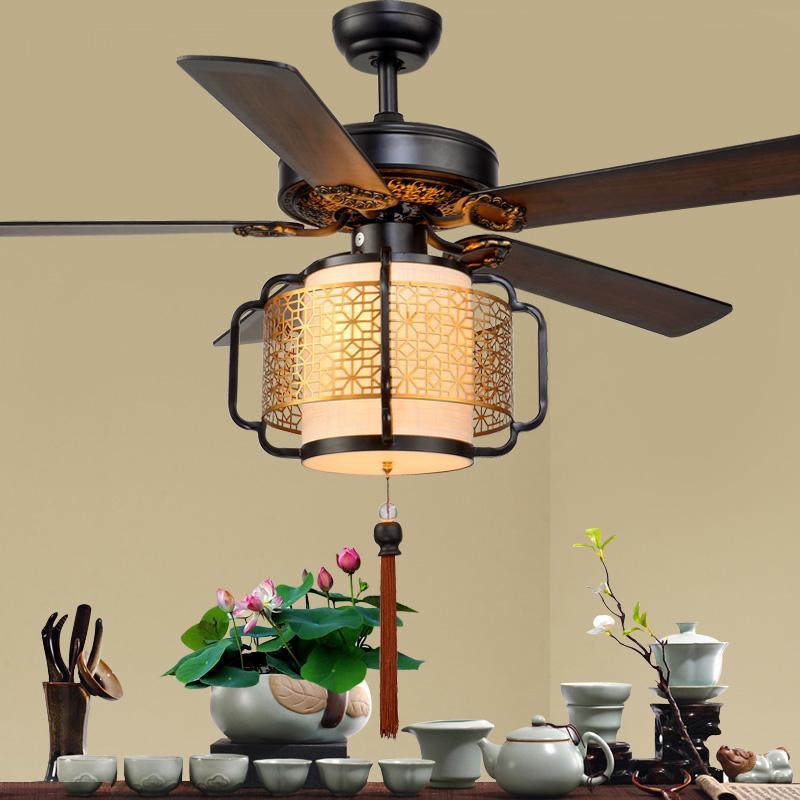 新中式吊扇灯木叶灯笼电风扇吊灯客厅餐厅茶楼饭馆风扇灯带灯吊扇