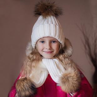 新款冬季帽子围脖儿童套装真皮草大貉子毛球保暖加厚女宝宝毛线帽