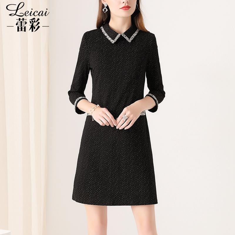 蕾彩2019新款七分袖黑色小香风短裙满680.00元可用302元优惠券