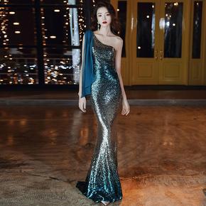 高端晚礼服裙女气质2020新款高贵宴会名媛性感鱼尾长款年会连衣裙