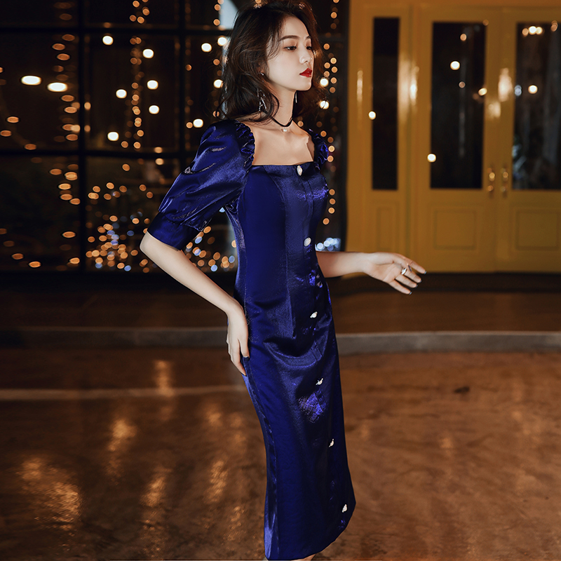 宴会2021新款高贵气质宝蓝色晚礼服