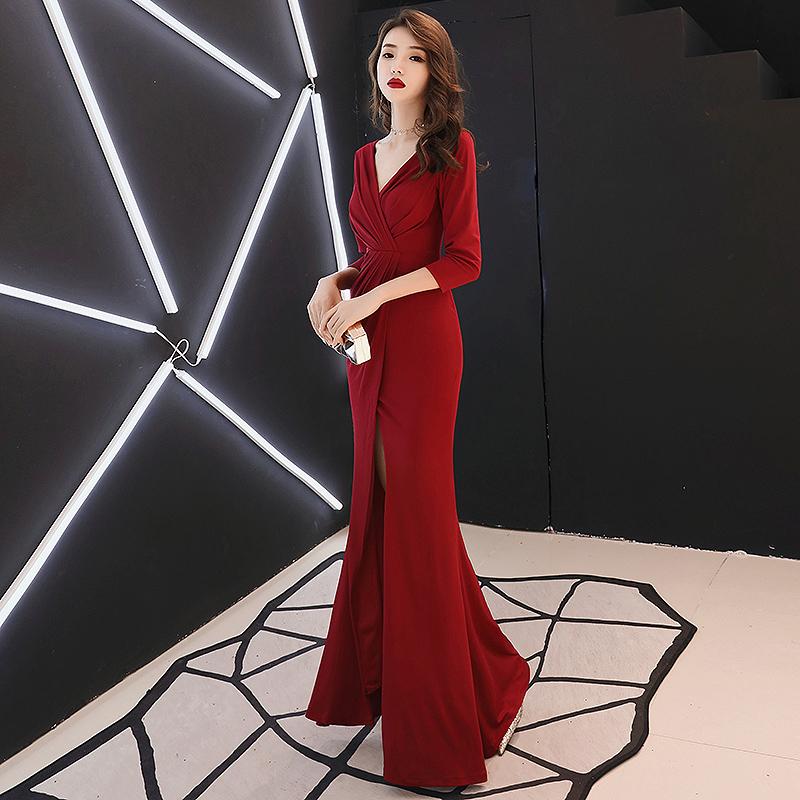 红色晚礼服裙女2019时尚宴会气质长款高贵简单大方名媛显瘦连衣裙(用5元券)
