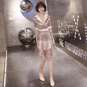 性感2021新款气质高贵金色女晚礼服